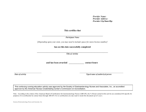 Certificate Template - Society of Gastroenterology Nurses and