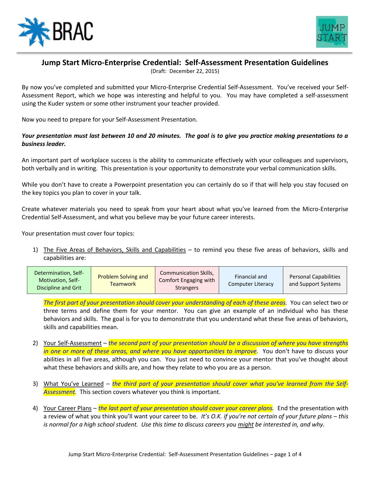 03-01 Self-Assessment Presentation Guidelines 2015-12-22