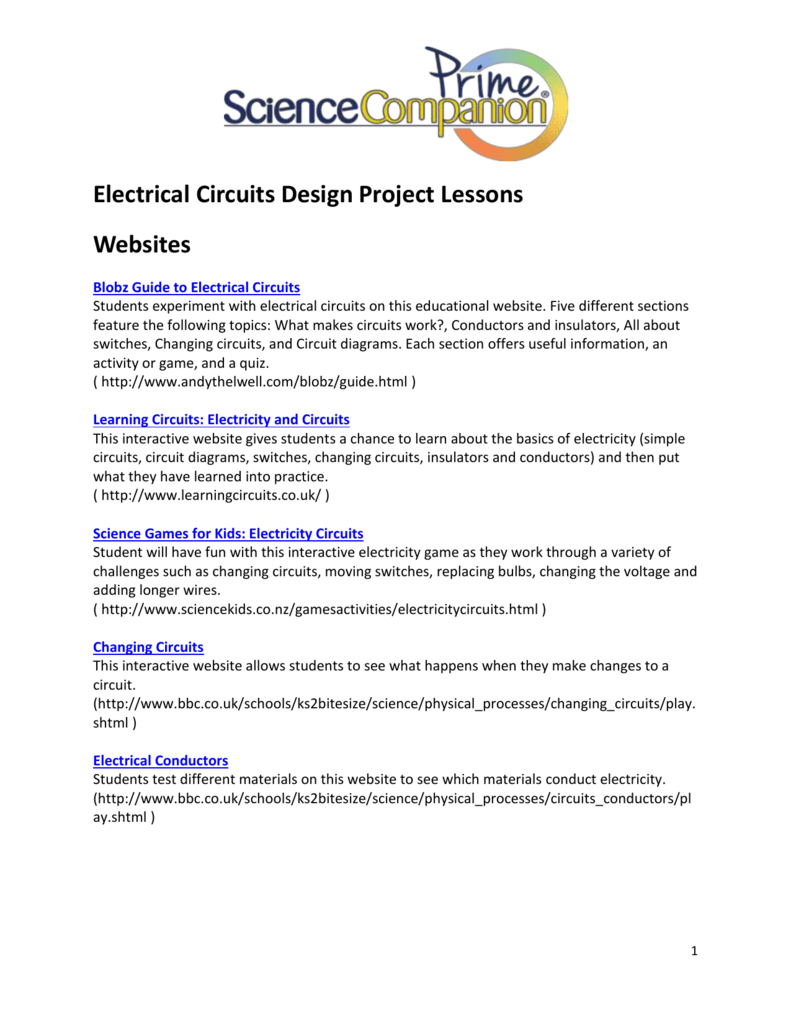 Learn About Electricity Science For Kids Electric Circuits Companion