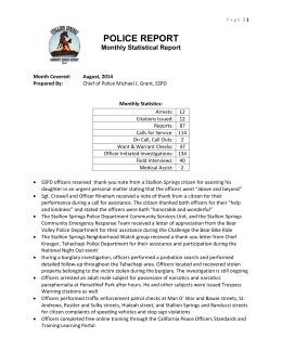 POLICE REPORT Monthly Statistical Report