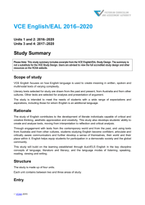 Vce Literature Units 1 And 2 2016 2020