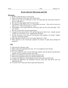 Microscope & Cells Review Sheet