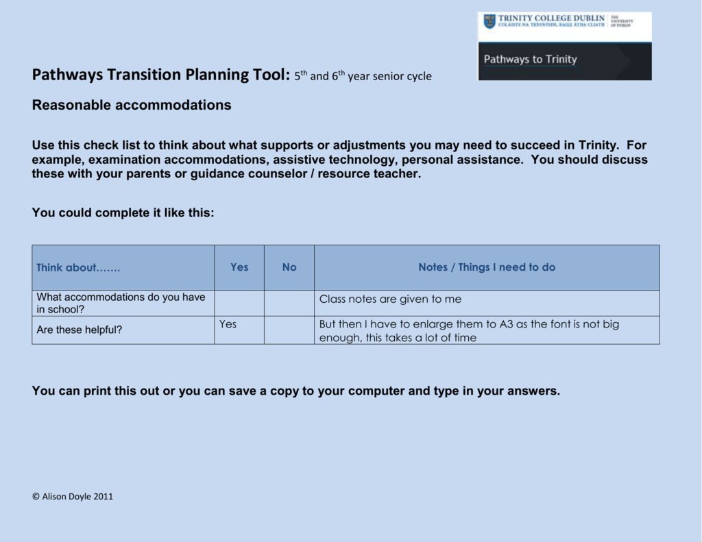 Pathways Transition Planning Tool 5th And 6th Year Senior Cycle Reasonable Accommodations Use This Check List To Think About What Supports Or Adjustments