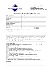Occupational/Physical Therapy Referral Form