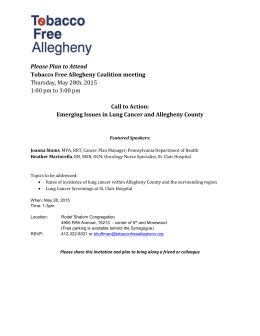 Call to Action: Emerging Issues in Lung Cancer and Allegheny County