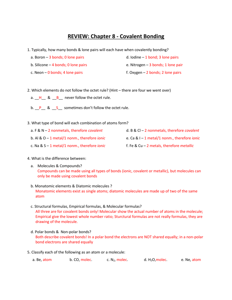 Chapter 8 1 covalent bonding worksheet answers