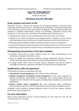 NB model job description for Database Security Manager