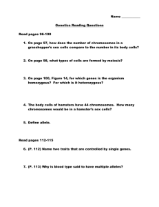 Genetics Reading WS