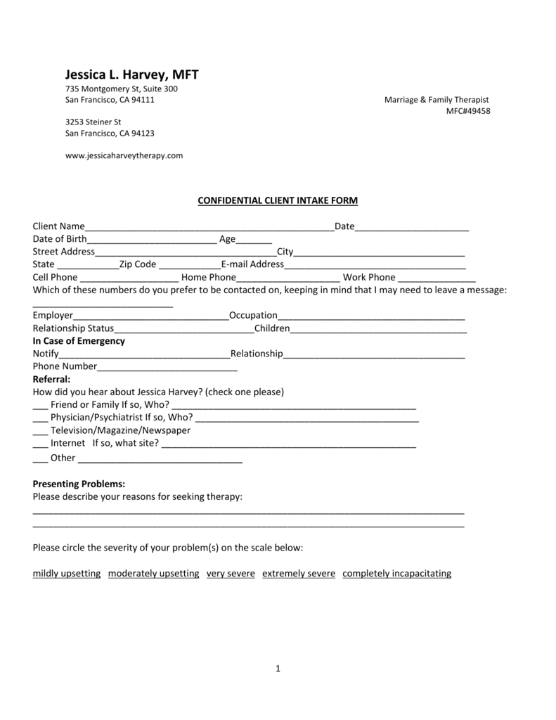 Client Intake Form - Jessica Harvey Therapy