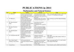 PUBLICATIONS in 2011 Mathematics and Natural Science