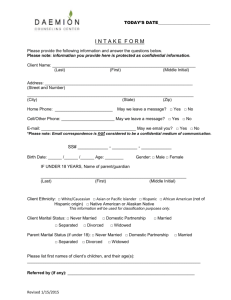 Client Intake Form - Daemion Counseling Center