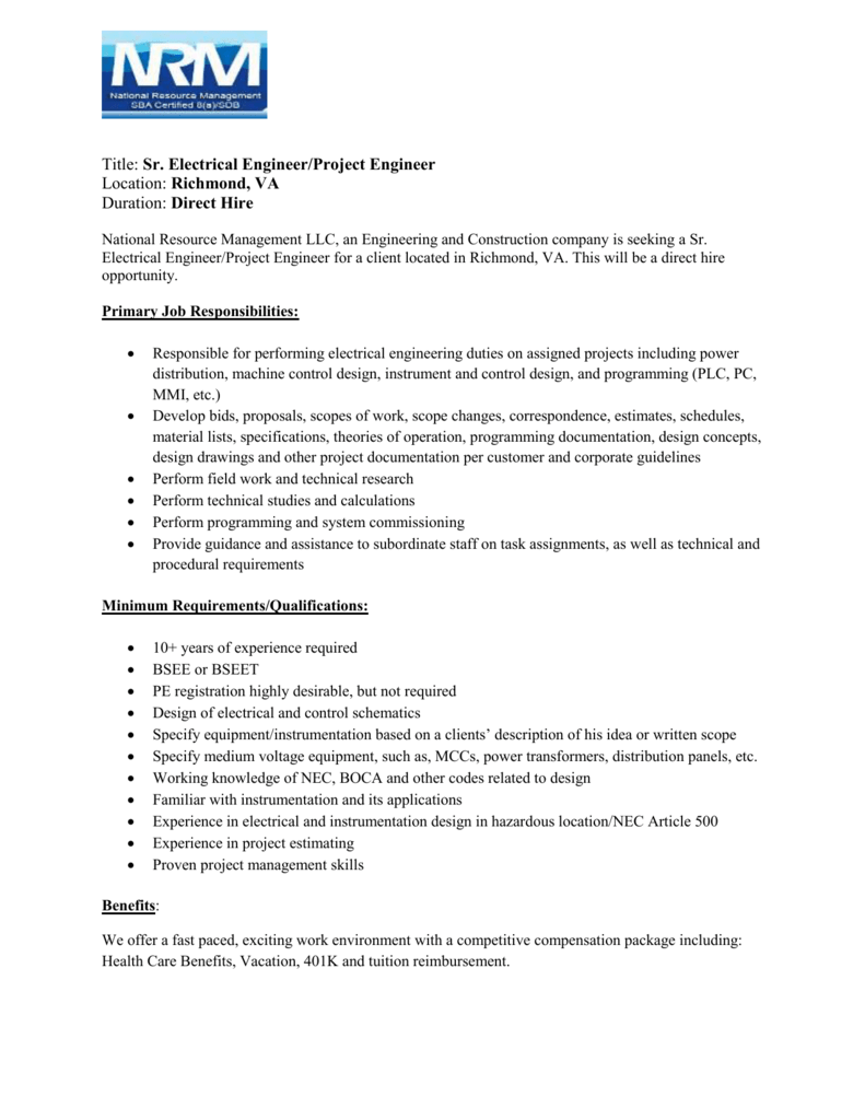 Title Sr. Electrical Engineer/Project Engineer Location Richmond