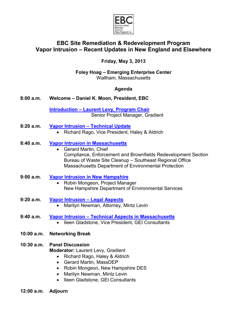 Final Agenda - Environmental Business Council of New England