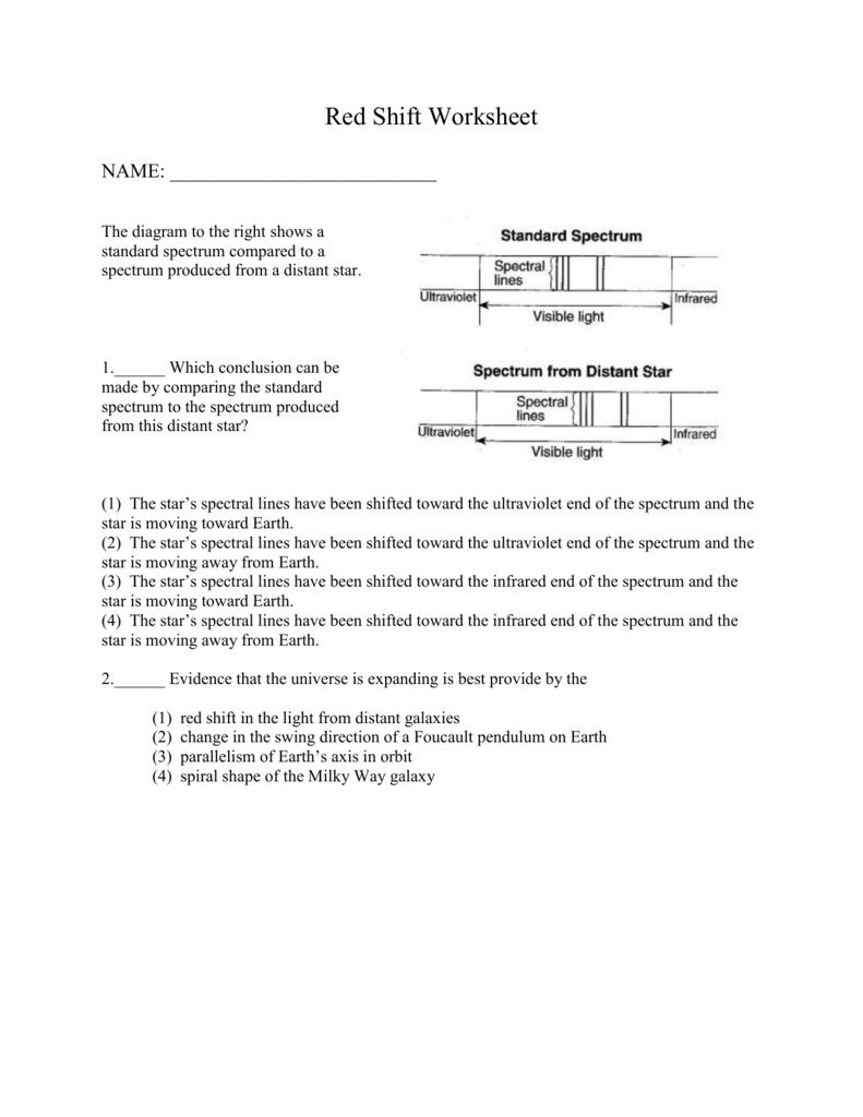 Red Shift Worksheet Redshift Worksheet Middle School Related To