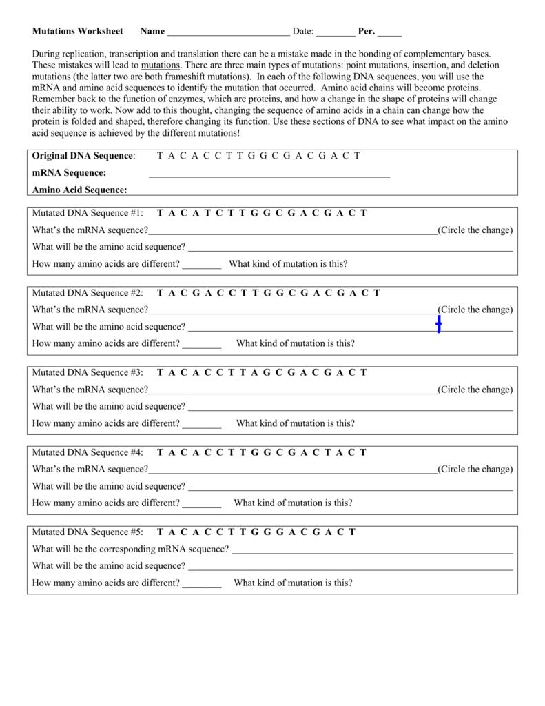 Workbooks sequence practice worksheets : Dna Mutations Worksheet - Phoenixpayday.com