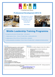 Middle Leadership Training programme 201516