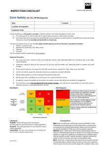 Hazard Checklist Core Safety - Facilities Management