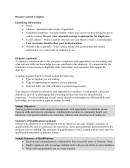 Resume Content Template - University Career Services