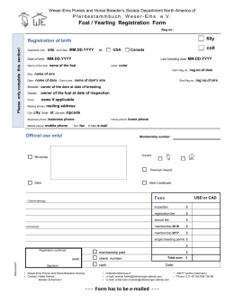 Foal / Yearling Registration Form - The Oldenburg Horse Breeders