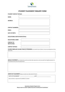 Samaritans Student Accommodation Placement Enquiry Form