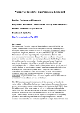 Vacancy at ICIMOD-Environmental Economist