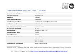 Template for Collaborative Provision Course or Programme