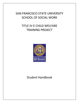 Title IV-E Student Handbook - Social Work and Gerontology