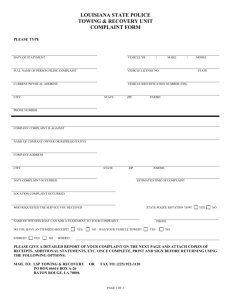 Towing and Recovery Complaint Form