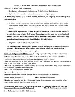 UNIT 2 STUDY GUIDE – Religions and History of the Middle East