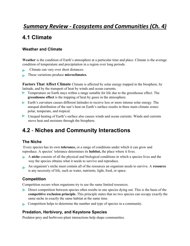 worksheet Community Interactions Worksheet summary review ecosystems and communities ch 4