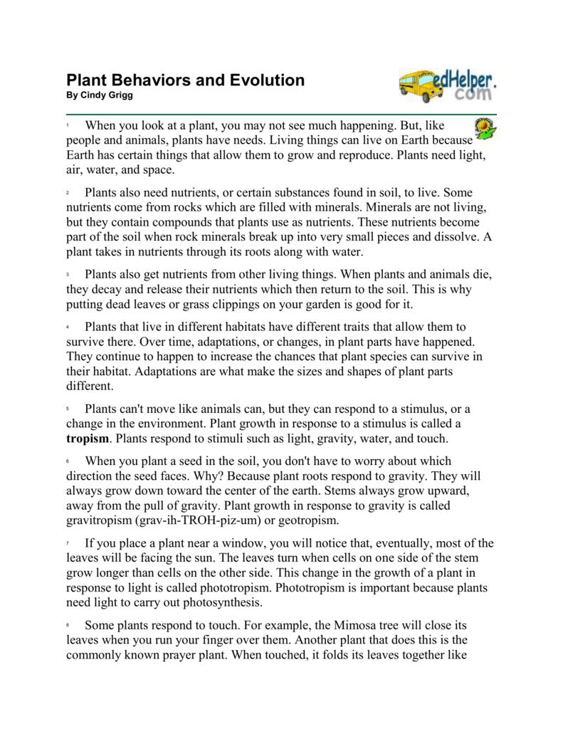 ed helper Plant Behaviors and Evolution
