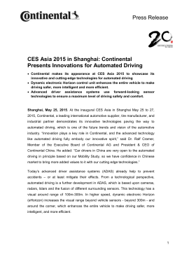 Continental Presents Innovations for Automated Driving