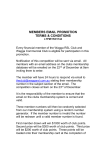 Thursday LUCKY MEMBERS DRAW - Wagga RSL & Commercial
