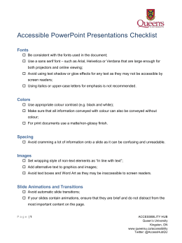 Accessible PowerPoint Presentations Checklist