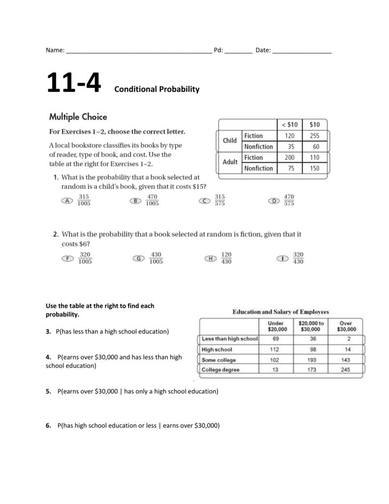 11 4 Worksheet