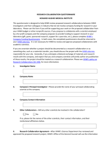 research collaboration questionnaire