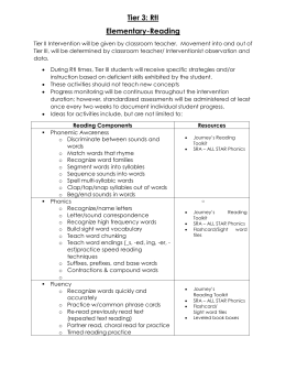 Tier 3 Elementary Reading Toolkit