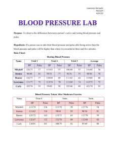 Blood Pressure Lab - Lawrence`s Looking glass