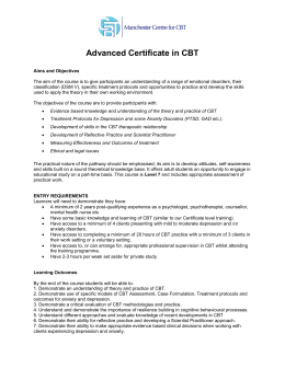 Advanced Certificate in CBT - CBT
