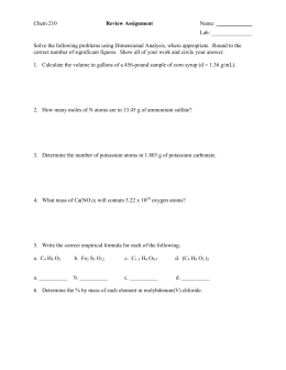 Chem 210 Review Assignment Name: Lab: Solve the following