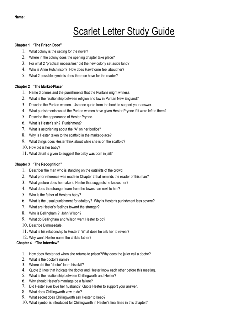 Scarlet Letter Study guide