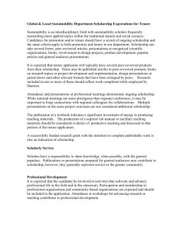 Natural Sciences Department-Scholarship Expectations for Tenure