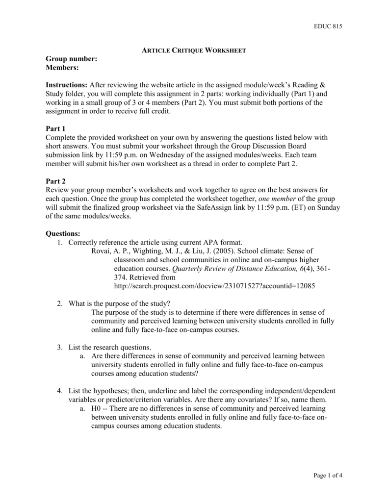 EDUC 815 Article Critique Worksheet Group number: Members