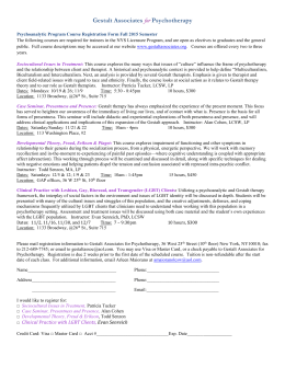 Psychoanalytic Program: Course Registration Form *FALL 2015