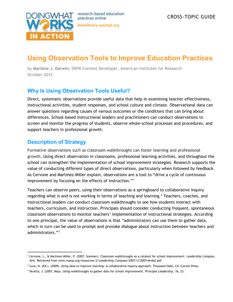 Using Observation Tools to Improve Education Practices