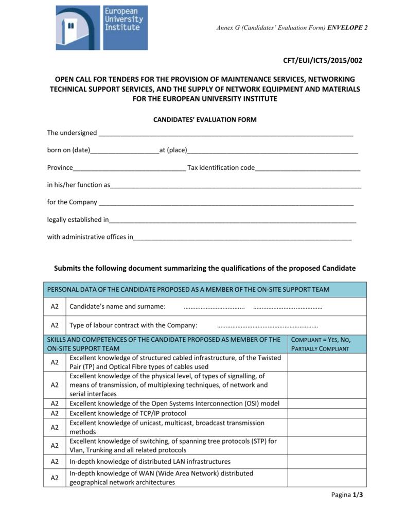 Annex G - Candidates Evaluation Form