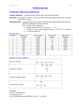 ORGANIC COMPOUNDS SUMMARY
