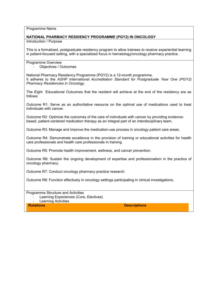 Programme Name NATIONAL PHARMACY RESIDENCY