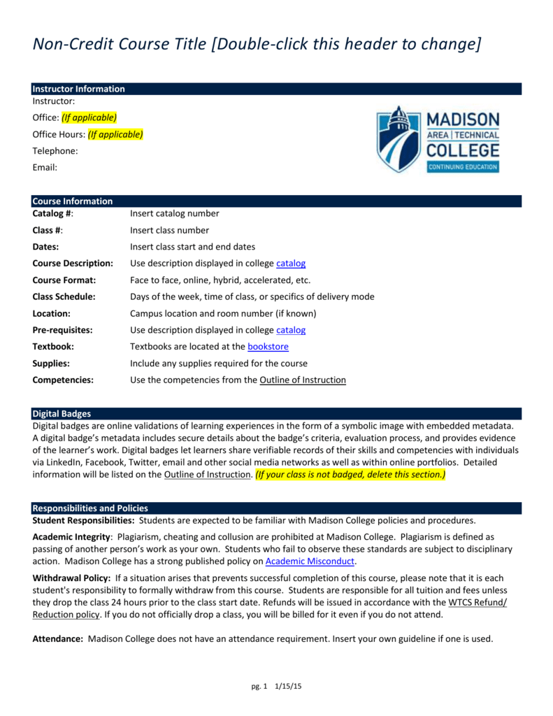 Non-Credit Grading - Madison Area Technical College