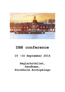 DBB conference 15 -16 September 2014 Seglarhotellet, Sandhamn